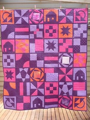 Handmade patchwork quilt - Free motion Quilting sampler - cotton batting