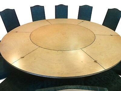 7.6ft MAGNIFICENT ART DECO JUPE STYLE GRAND BURR WALNUT CIRCULAR DINING TABLE