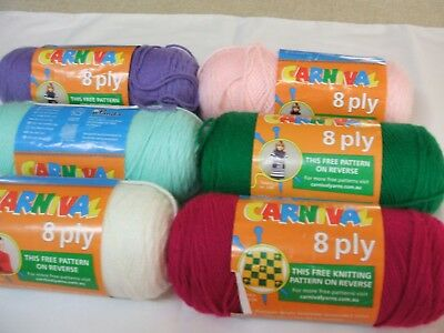 Panda Carnival 8 Ply Acrylic Yarns Various Colours. New With Labels