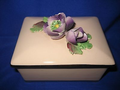 Vintage Crown China Crafts Ltd China Flowers Hand Made & Painted Trinket Box