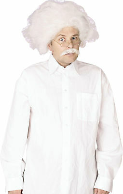 Einstein Crazy Scientist Professor Mad Doctor Fancy Dress Wig & Moustache Set