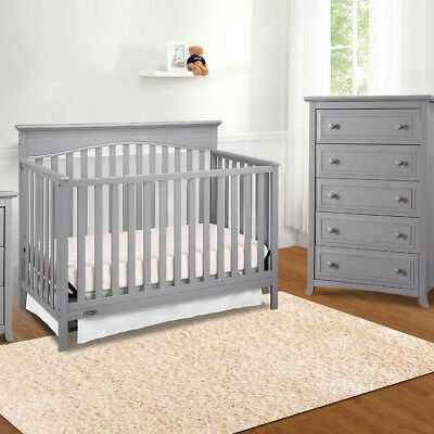 4 in 1 Convertible Crib, Nursery Furniture Toddler Daybed Full Bed Pebble Gray