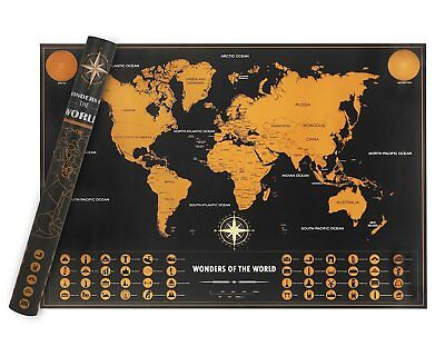Scratch Map Deluxe World Travel Map Poster Kit World Edition Adventures Gift New