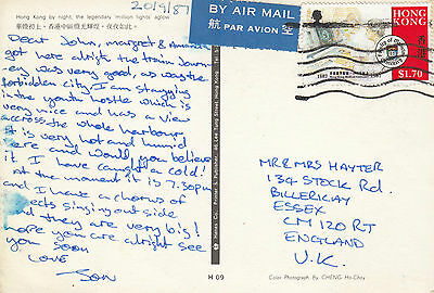 L 1635 Hong Kong 1987 airmail postcard to UK; $1.70 rate; medical centenary solo