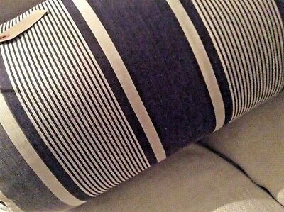 Vintage French Large Bolster Cushion Ticking Stripe Ink Blue - feather filled