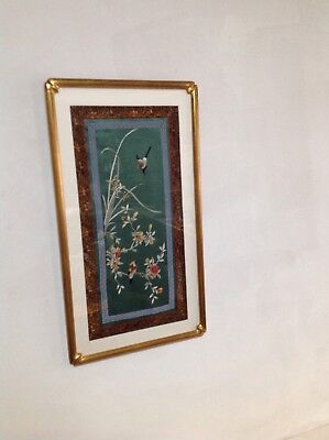 Silk Embroidery, Bird scene Art 100% Hand made Embroideries/Gold wood frame