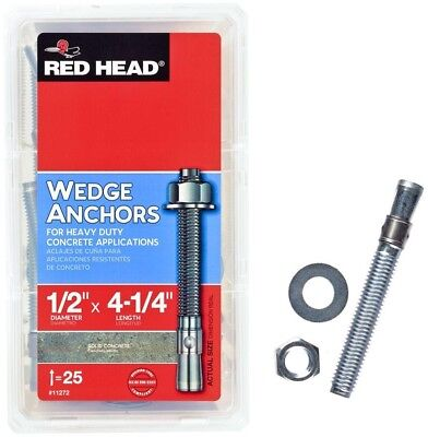 Wedge Anchors, Zinc-Plated Steel Hex-Nut-Head Solid Concrete 1/2 x 4-1/4 (25-Pk)