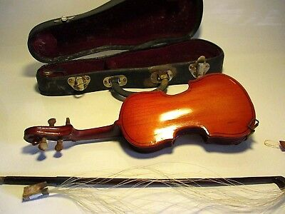 Vintage Miniature Violin - Wooden Body In Case With Bow - Nice Repair Project