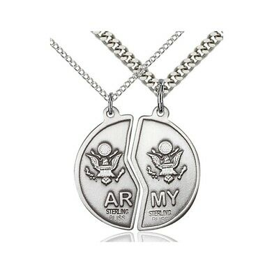 Bliss Sterling Silver Mizpah Army Coin Set With 18 and 24 inch Curb Chains