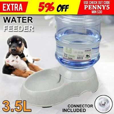 Automatic Pet Cat Dog Water Feeder Bowl Bottle Dispenser Plastic Large 3.5Liters