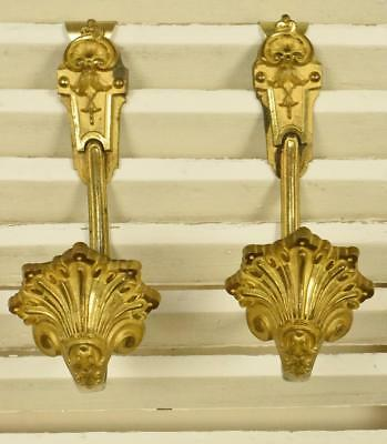 Superb Pair Antique French Ormolu Curtain Tie / Hold Backs, Chateau Chic C1880