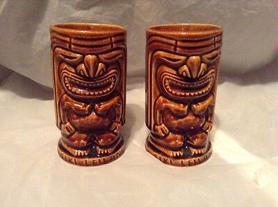 """Vintage Pair Of Tiki Leilani Mug Brown Two Sided Orchids of Hawaii 5"""" Tall"""
