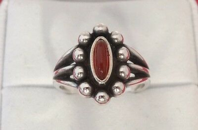 James Avery Beaded Ring with Carnelian Size 6 1/2 Sterling Silver