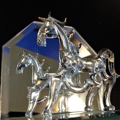 1990 Vintage Hand Blown Art Glass - Horse on Mirrored Stand - Ornament Figurine