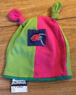 LIZZIE SHIRT Pink and Green Rose Knotted Baby Girl's Cotton Hat, 0-6m BNWT NEW
