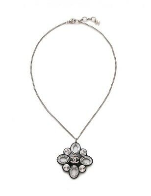 Chanel Necklace COCO Mark Rhinestone Black Silver 16P Women's Accessories