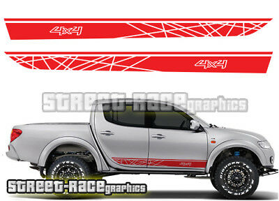 Mitsubishi L200 032 side racing stripes stickers decals graphics 4x4 offroad
