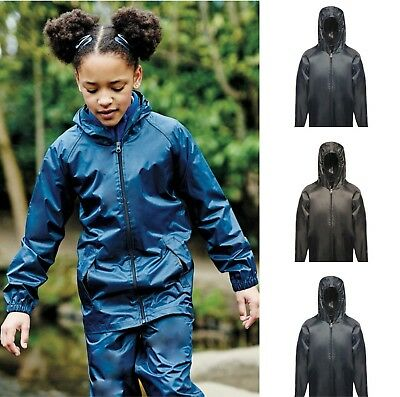 REGATTA PRO Childrens Kid's STORMBREAK Waterproof Jacket - Hooded, Black or Navy