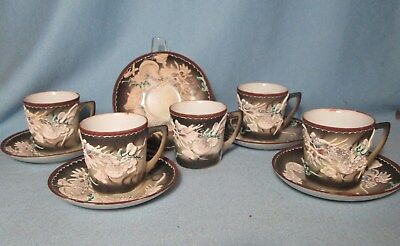 Vintage Japan Moriage DRAGON WARE Child Dishes CUP & SAUCER Group 10pc.