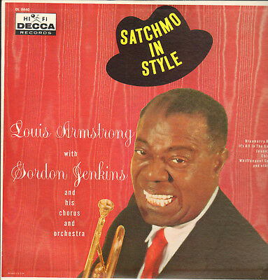 LOUIS ARMSTRONG WITH GORDON JENKINS-LP- SATCHMO IN STYLE-ORG.BLaCK DECCA-1950s