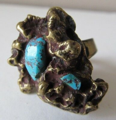 Antique Chinese BRASS TURQUOISE Pinky RING Brutalist NUGGET Size 4 1/2 SIGNED