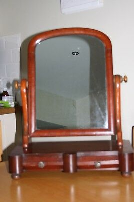 Once-elegant  Victorian dressing table swing mirror in mahogany