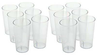 12PK 16OZ CLEAR Restaurant Break Resistant Drinking Cups Glass PLASTIC TUMBLERS