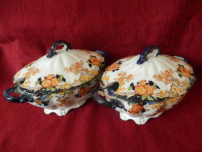 Pair Of Antique Victorian Floral And Gilt Tureens And Covers, Geisha Pattern (2)