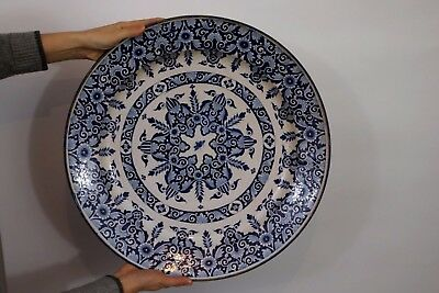 ANCIEN ET ENORME PLAT EN FAIENCE DE NEVERS EPOQUE XVIIeme BOURDU FAENZA 17TH