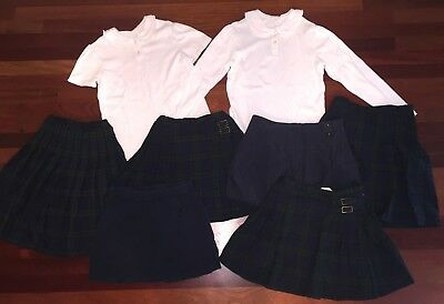 SCHOOL UNIFORM LOT of 7 Girls LAND'S END Skirts and Tops 10/12 EEUC