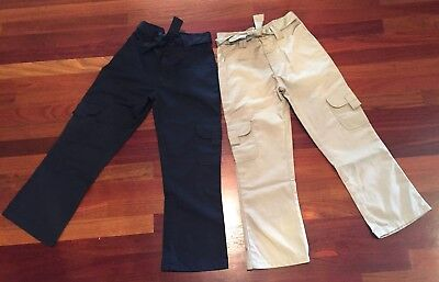 New CARTER'S  School Uniform Girl's Khaki & Navy Cargo Pocket Pants size 10 NWOT