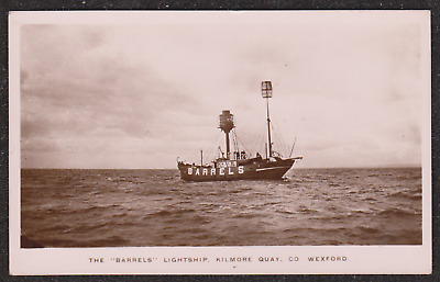 1910 Kilmore Quay County Wexford The Barrels Lightship Real Photo Postcard