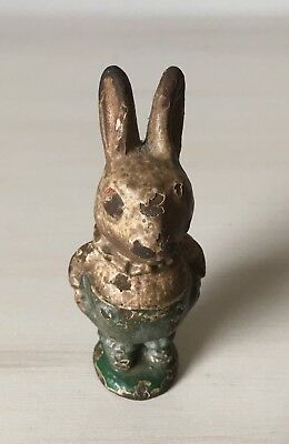"Antique Peter Rabbit Cast Iron Paperweight  3"" Hard to Find!"