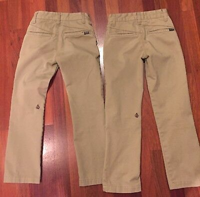 VOLCOM Lot of 2 pairs Boys Vmonty Khaki Straight-Leg Pants size 22/8 Slim EEUC