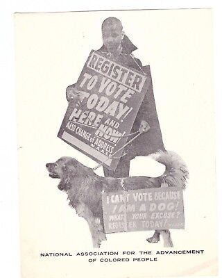"""Civil Rights Movement Naacp Flyer """"register To Vote Today"""" 4 1/2"""" X 5 3/4"""""""