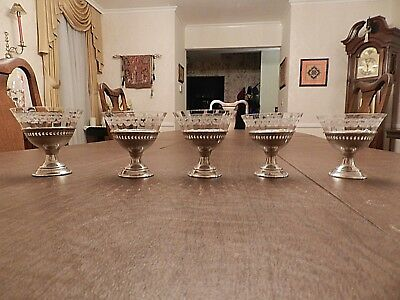 Set Of 5 Antique Sterling Silver/etched Glass Sherbet Dishes