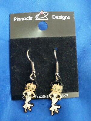 "1998 Betty Boop white outfit 1 1/2"" Dangling  Pinnacle Designs wire earrings new"