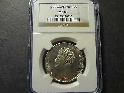 Great Britain 1826 1/2 Half Crown, Rare High Grade, Ngc Graded Ms 61 !