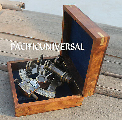 "4"" Heavy Brass Collectible Sextant With Box Ship Working Replica Instrument Gift"
