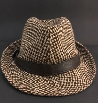London Fog Dk Brown Houndstooth Fedora Woolblend Hat With Fleece Lining L XL da637fcb4ed