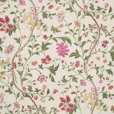 Schumacher Chinoiserie Floral Birds Cotton Chintz Fabric 10 Yards Cream Rose