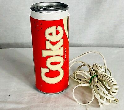 Coca Cola Coke Can Landline Phone 1985 Vintage with Cords Push Button Red White
