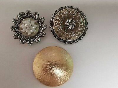 VINTAGE W. GERMANY SIGNED SCARF CLIPS LOT of 3