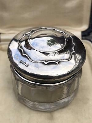 Antique Hallmarked 1917 Sterling Silver & Glass Pill Trinket Dresser Jar!