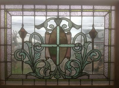 painted stained glass torch window