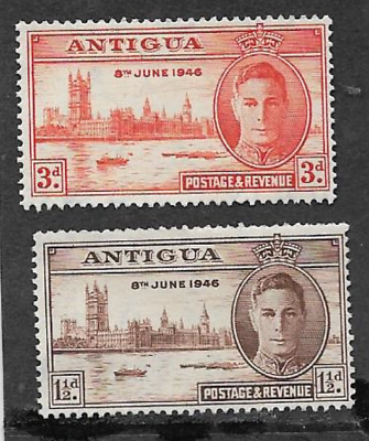 Antigua Postal Issue - Kgv1 Era, 1946 Mint Set Commemorative Stamps - Victory