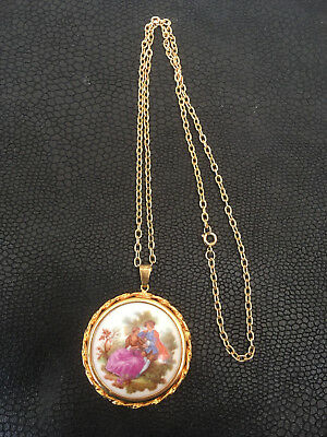 La Reine Limoges Porcelaine France Necklace Pendant vintage