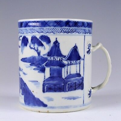 18Th/19Th Century Chinese Export Blue White Porcelain Mug No Reserve