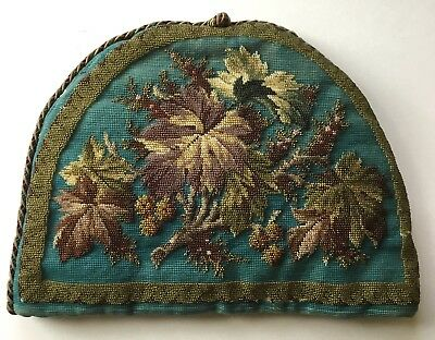 Beautiful Victorian Tapestry And Beadwork Tea Cosy, Cozy. Lovely Leaf Design
