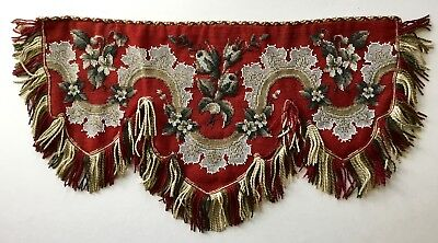 A Lovely Antique Victorian Beadwork + Silk Tapestry Lambrequin Or Shelf Panel